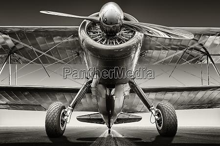 historical aircraft on a runway ready