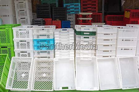 white transport crates