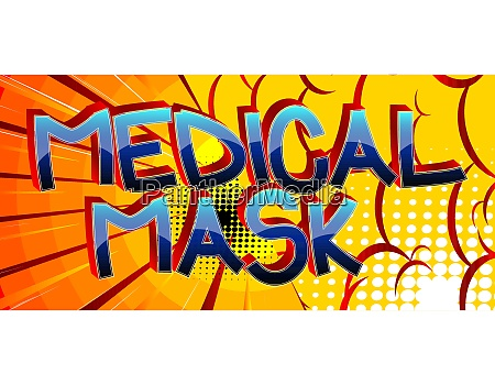 medical mask comic book style cartoon