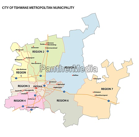 administrative vector map of city of