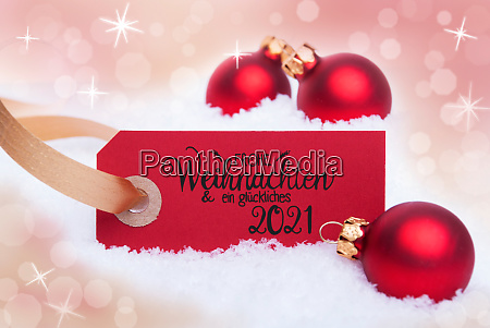red christmas ball snow label glueckliches