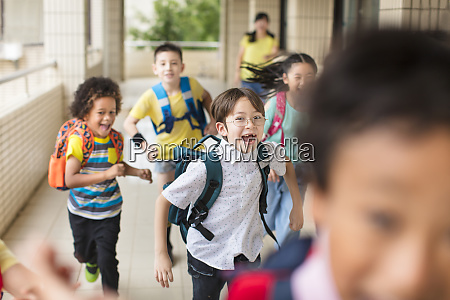 happy group of elementary school kids