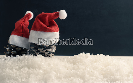 pine, cones, with, hat, of, santa - 28825671