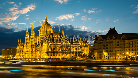 illuminated hungarian parliament