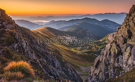 mountain landscape at colourful sunset
