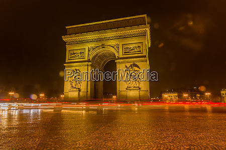 paris triumphal arch illuminated