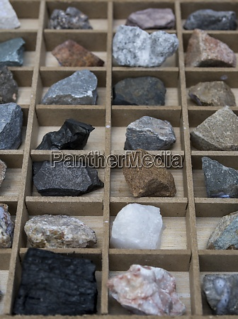 rocks and minerals in a box
