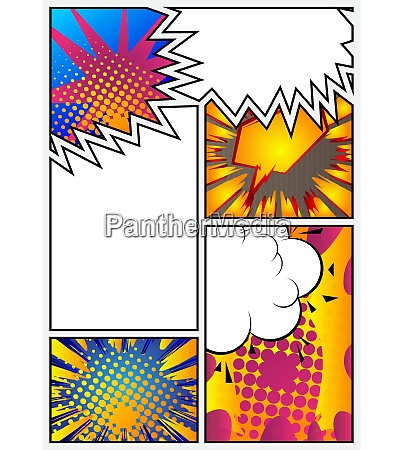 comic book page with colorful elements