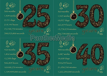 birthday cards set golden numbers 25