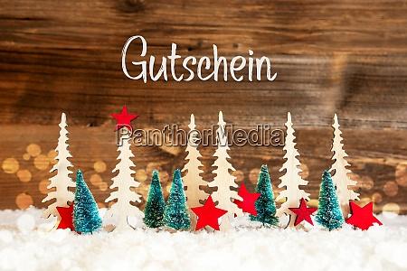 christmas tree snow red star gutschein