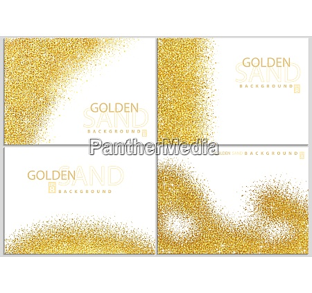 golden sand on white background collection