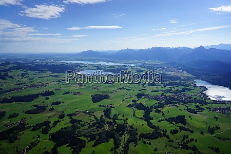 aerial view of villages lakes and