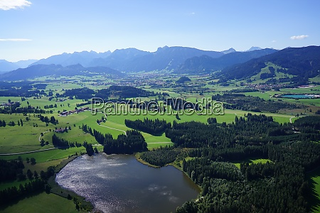 aerial view of lakes and villages