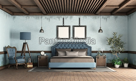 blue retro bedroom with classic style