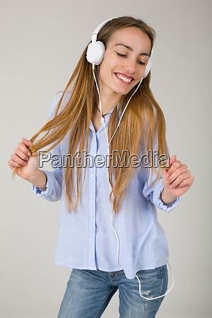 woman listen music