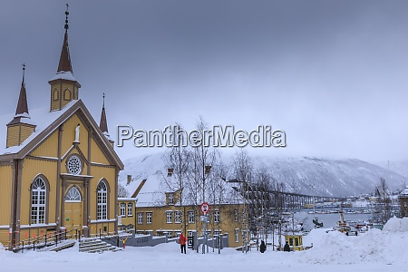 tromso after heavy snow catholic cathedral