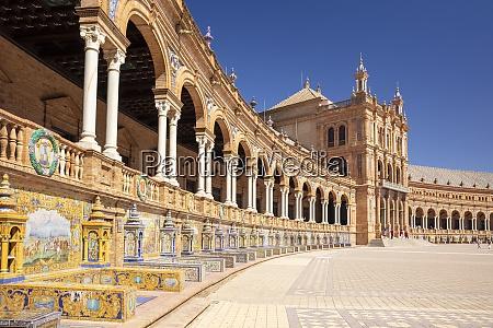 plaza de espana with ceramic tiled