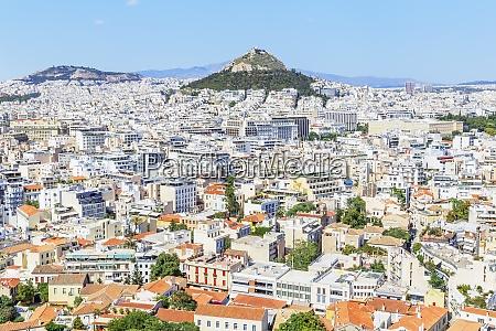 high angle view of athens city