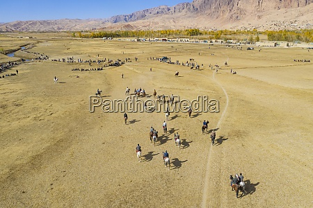 aerial by drone of a buzkashi