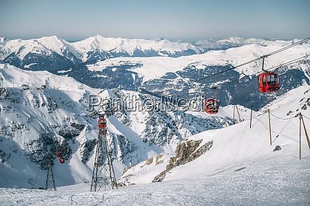 red ski lifts at la plagne