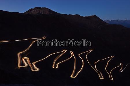 pass road stilfser joch at night