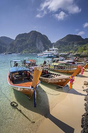 maya bay with long tail boats