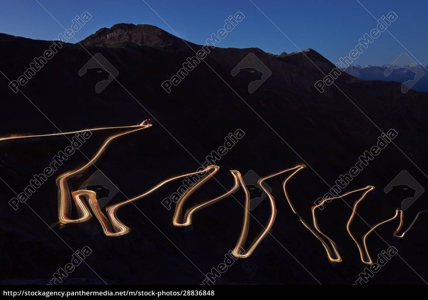 pass, road, stilfser, joch, at, night - 28836848