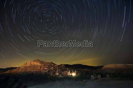 star trails above the kasbah ait