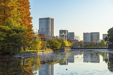 skyscrapers of marunouchi and moat of