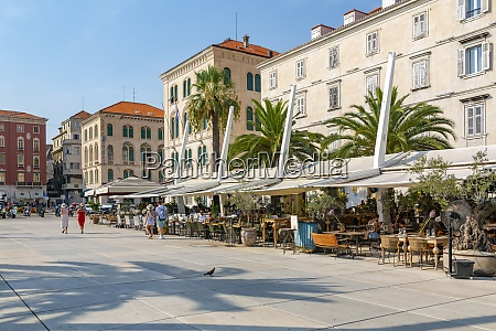 view of buildings and cafes on