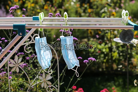 washed mouth nose protection on clothesline
