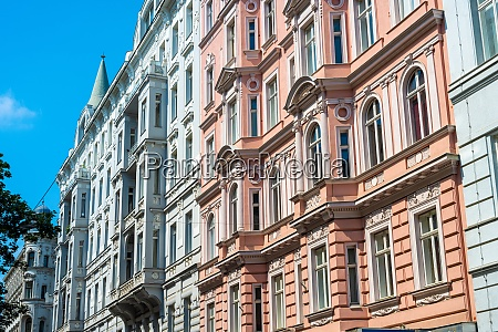 colorful old apartment buildings seen in
