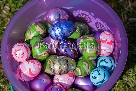 top view of pink easter basket
