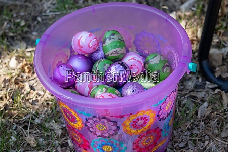 bright pink and flowered easter basket