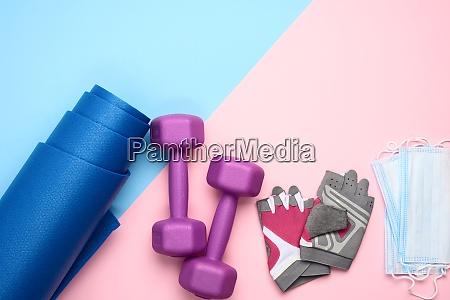 pair gloves blue neoprene mat