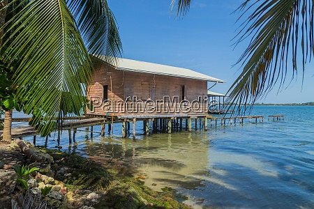 caribbean houses over the sea with