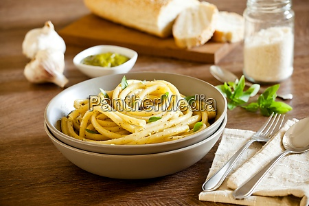 bowl of pasta with homemade pesto