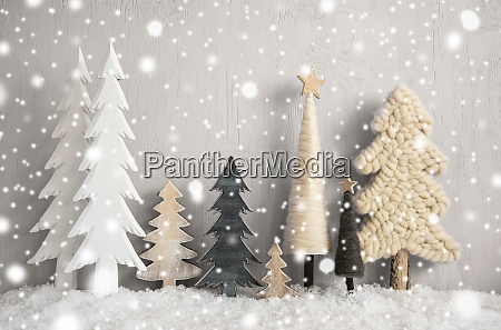 christmas trees snow gray grungy wooden