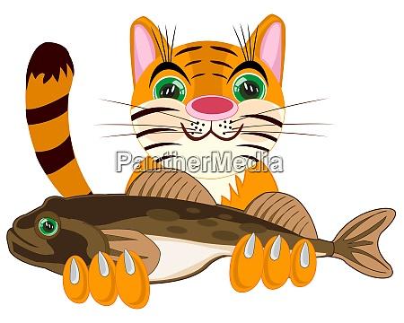 pets animal cat with big fish