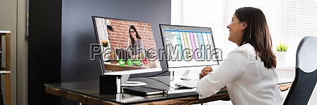 woman video conference business call