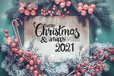 fir tree branch paper merry christmas