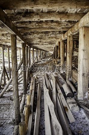 wooden beams in a saline