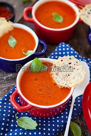 tomato soup in little pots