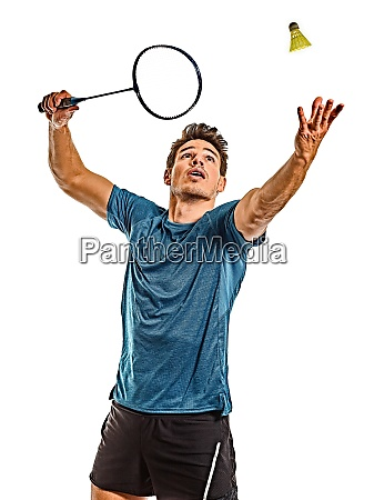 badminton player young man isolated white
