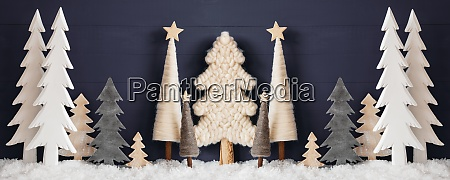 banner christmas trees snow black wooden