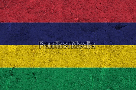 flag of mauritius on weathered concrete