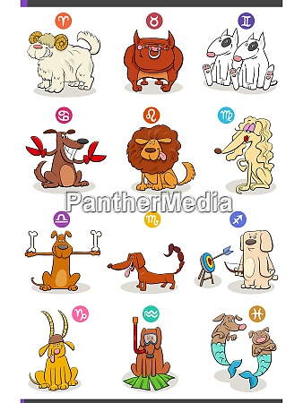 horoscope zodiac signs set with comic