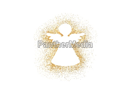 angel christmas decoration on golden glitter