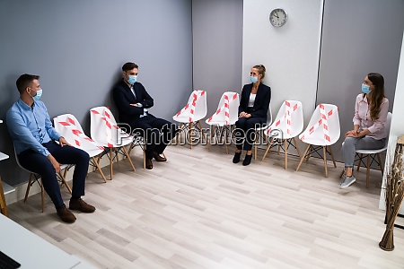 diverse job applicants waiting for interview