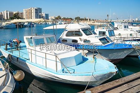 motorboats marina embankment larnaca cyprus